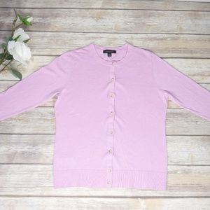 Ann Taylor Pink Button Down Lightweight Cardigan M